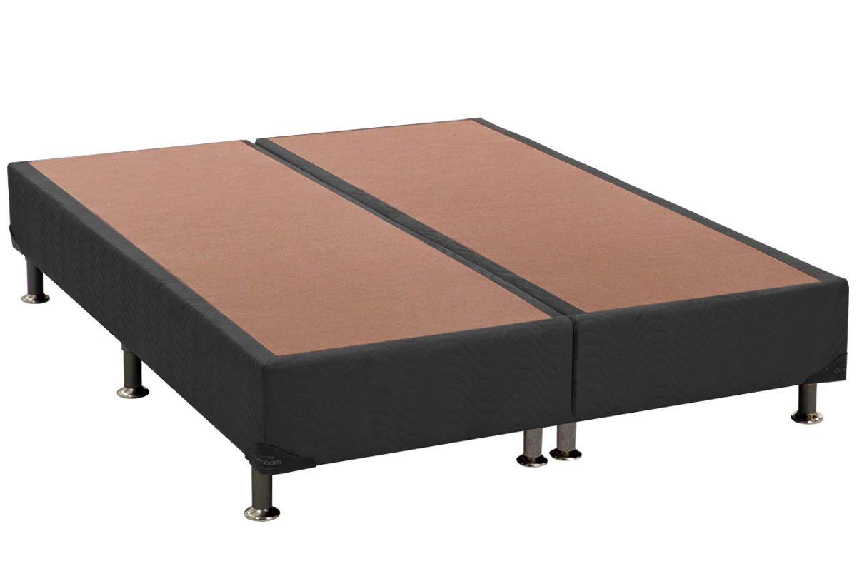 Cama Box Base Universal Nobuck Cinza 20Cama Box Queen Size - 1,58x1,98x0,20 - Sem Colchão
