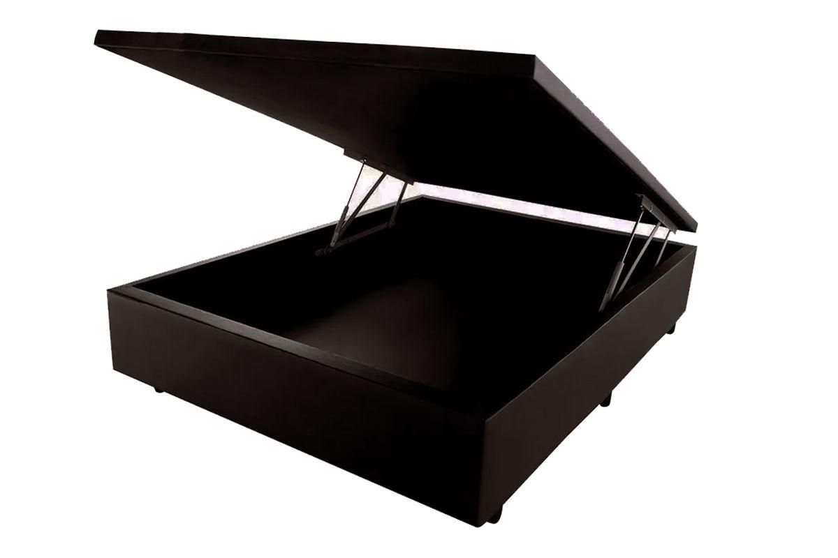 Cama Box Baú Orthocrin Couríno MarromCama Box Casal - 1,38x1,88x0,35 - Sem Colchão