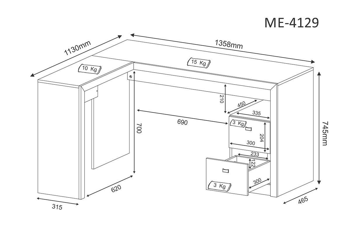 Mesa p/ Escritório Tecno Mobili ME-4129 de Canto