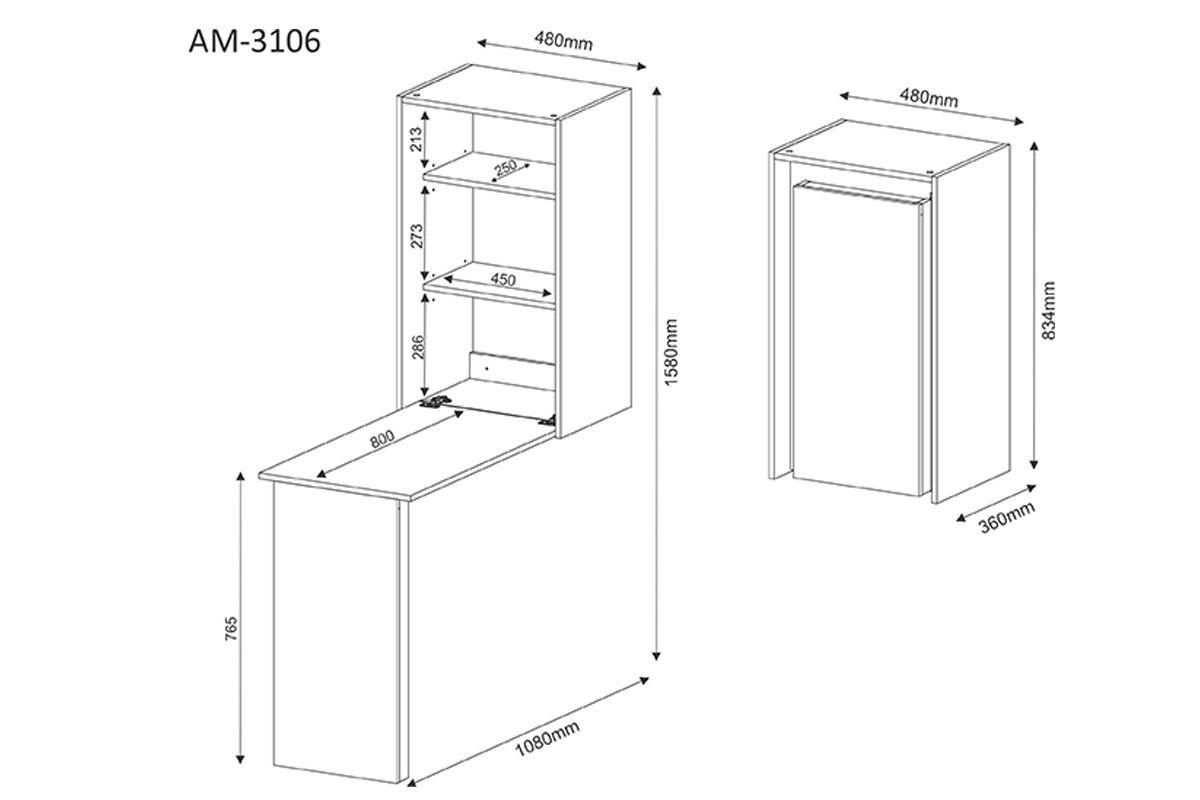 Armário de Parede c/ Escrivaninha Tecno Mobili AM-3106