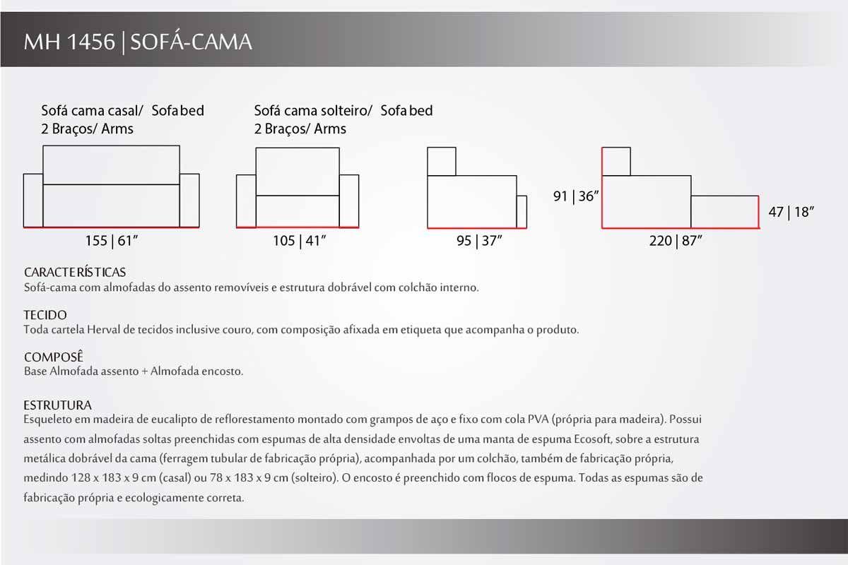Sofá Cama Casal Herval Idea MH 1456
