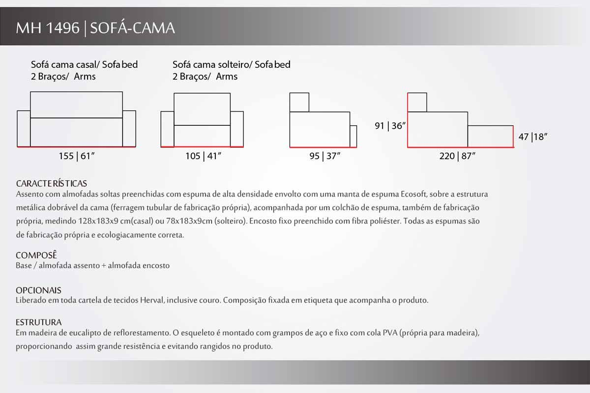 Sofá Cama Casal Herval Idea MH 1496