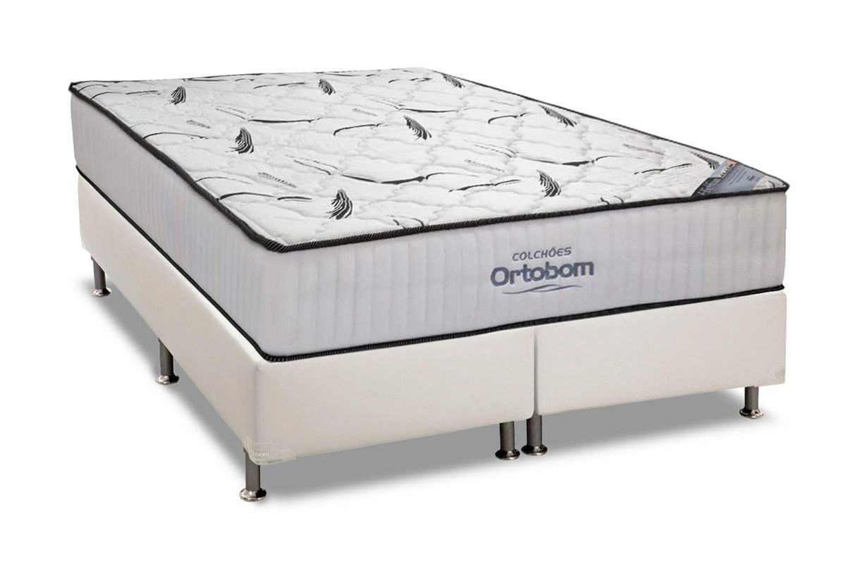 Conjunto Cama Box- Colchão Ortobom High Foam + Cama Box Universal Courino White