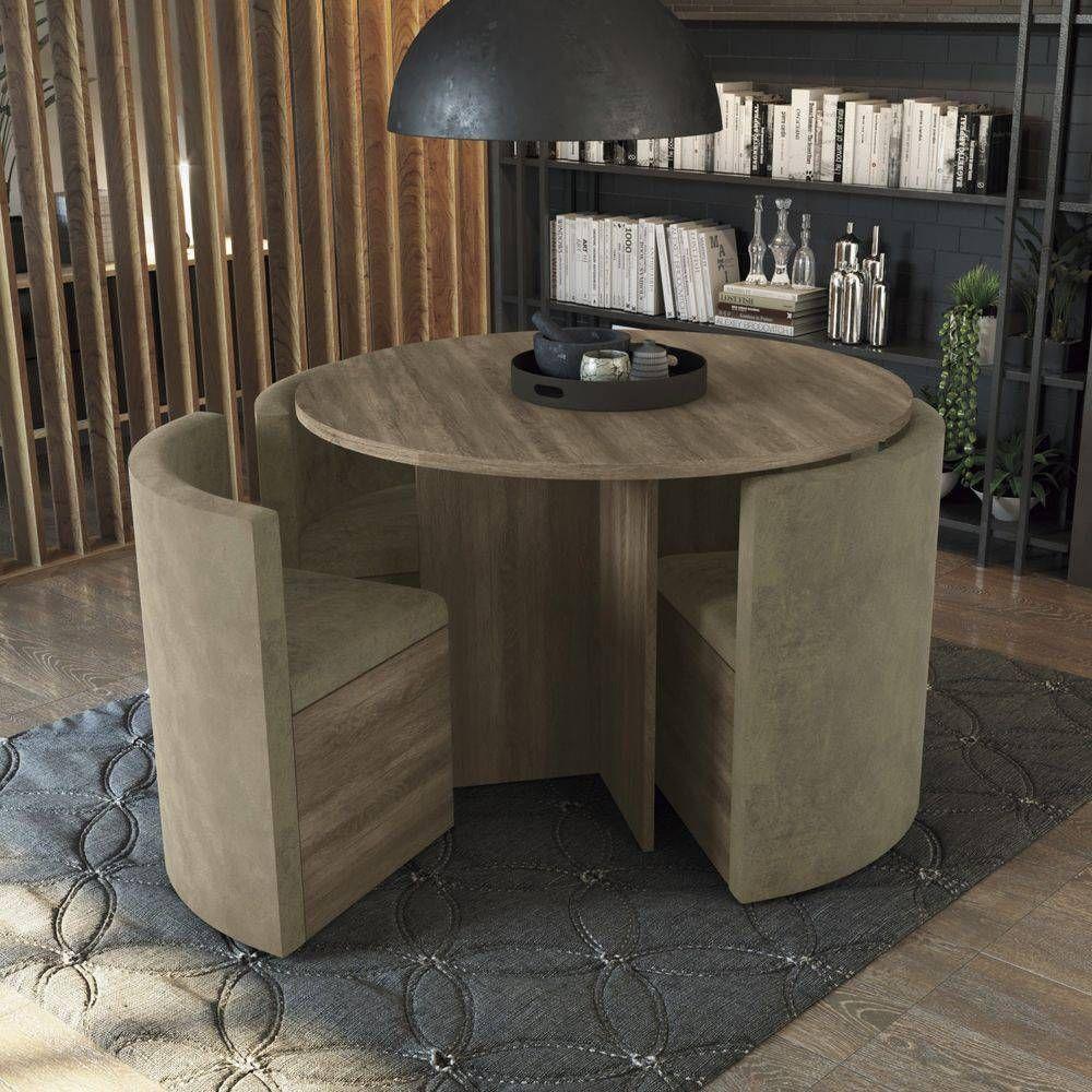 Conjunto Mesa de Jantar Kappesberg - Mesa Madeirado Nirá 108cm + 4 Cadeiras Nirá/Caramelo