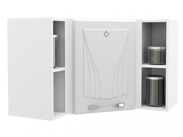 Armário de Cozinha Telasul Aéreo Star c/ 1 Porta e 2 Prateleiras 55cmCor Branco