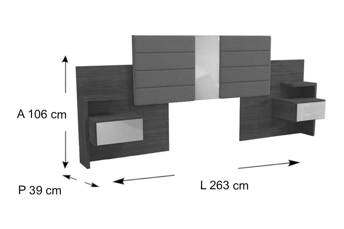 Cabeceira de Cama Box Reversível Casal/Queen Kappesberg G290 c/ 2 Criados Mudos