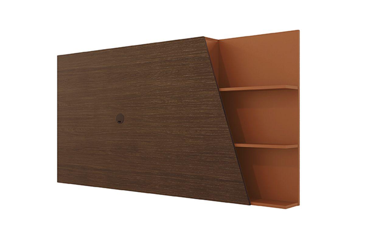 Painel para Rack Kappesberg Pop PO422 Madeira c/1 Nicho Lateral de Correr e 3 Prateleiras 91x180cmCor Jacarandá/Terracota