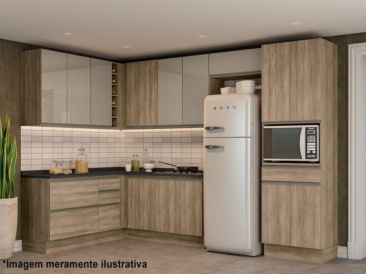 Balcão (Gabinete) de Cozinha Kappesberg Maxxi G746 Madeira 1 Porta + 4 Gavetas S/tampo 120cm