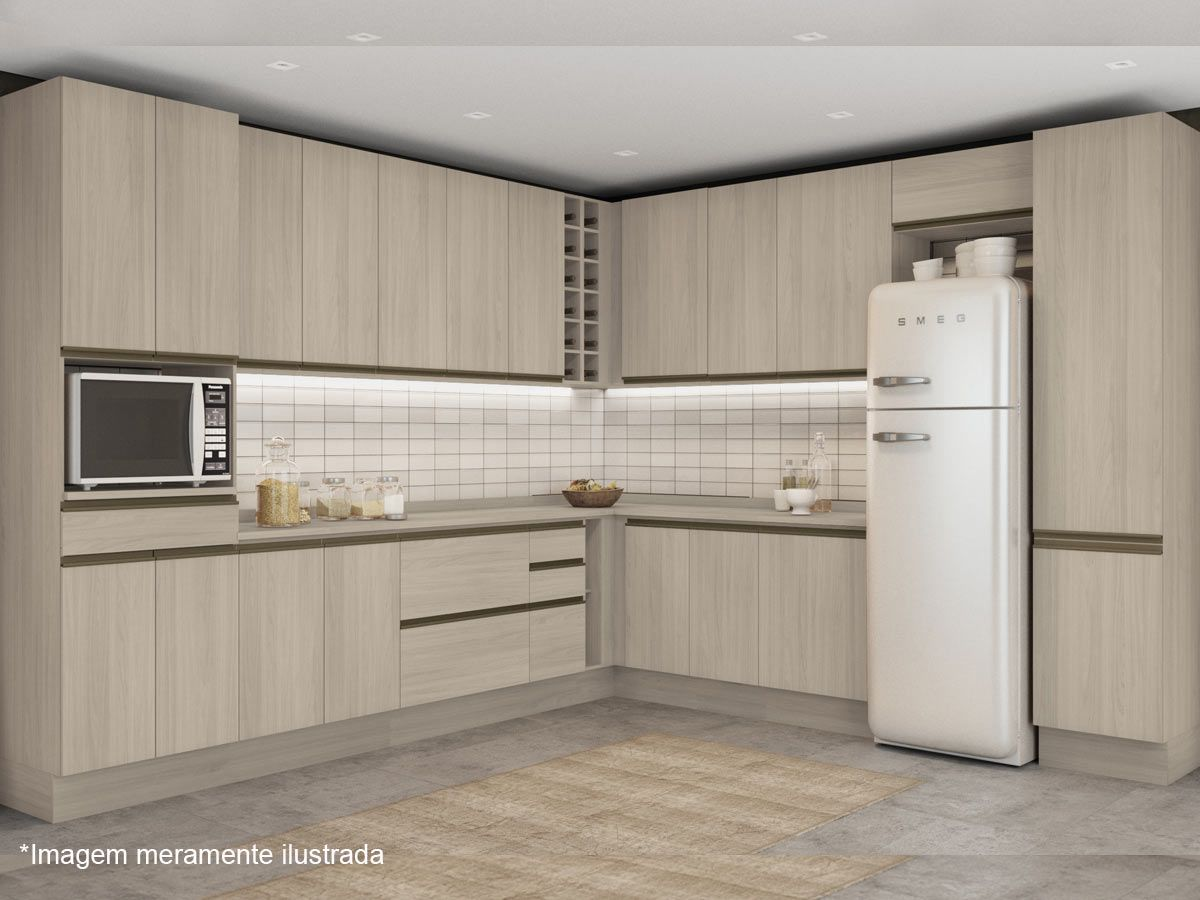 Armário de Cozinha Kappesberg Aéreo de Canto Maxxi G768 Madeira 1 Pta + 6 Nichos 98cm