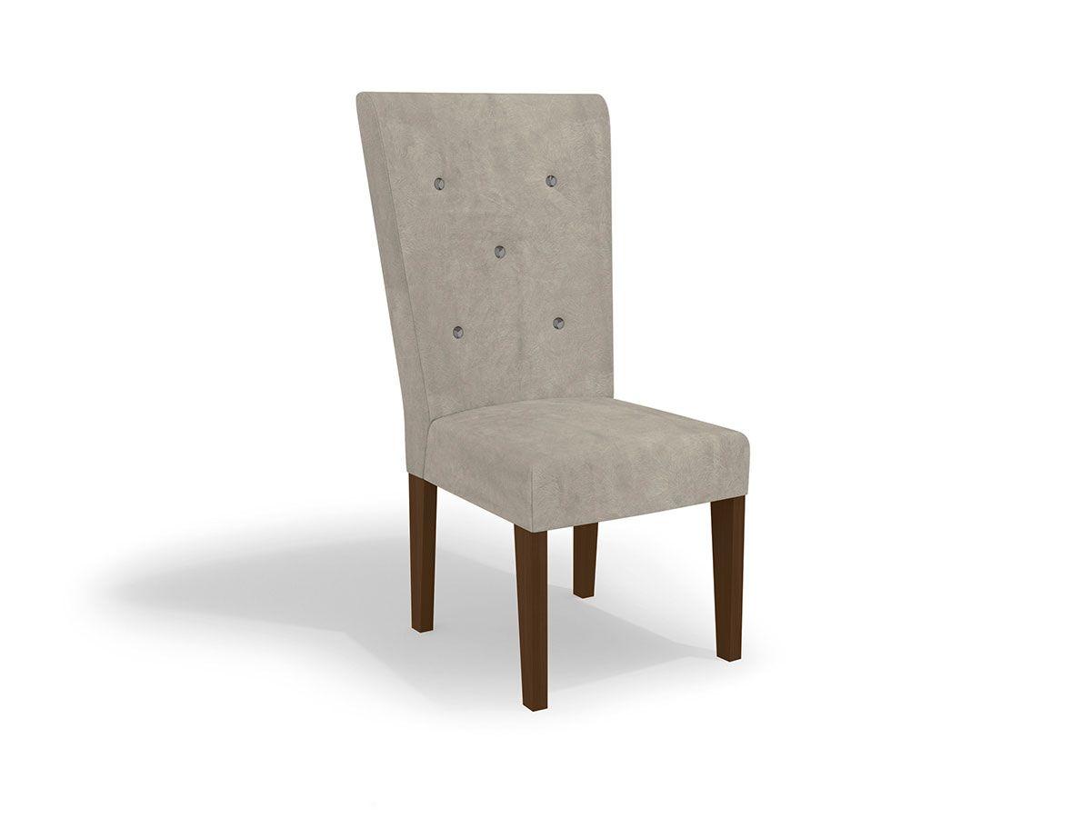 Cadeira Kappesberg Estar 2CAD109 Madeirado (2 Unidades)Cor Walnut  -  Assento/Encosto Bege D002