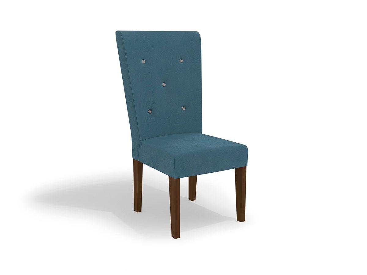 Cadeira Kappesberg Estar 2CAD109 Madeirado (2 Unidades)Cor Walnut  -  Assento/Encosto Azul D007