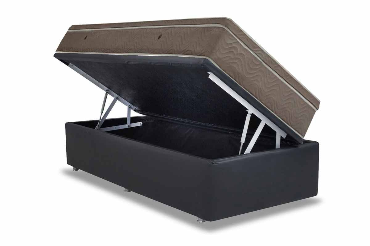 Conjunto Box: Colchão Ortobom Molas Pocket Light + Cama Box Baú Courino Nero Black