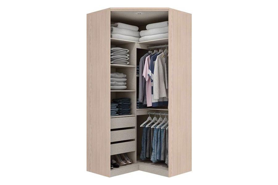 Guarda Roupa Closet de Canto Henn Diamante c/ 2 Portas de Espelho (Componível)Cor Fendi HP