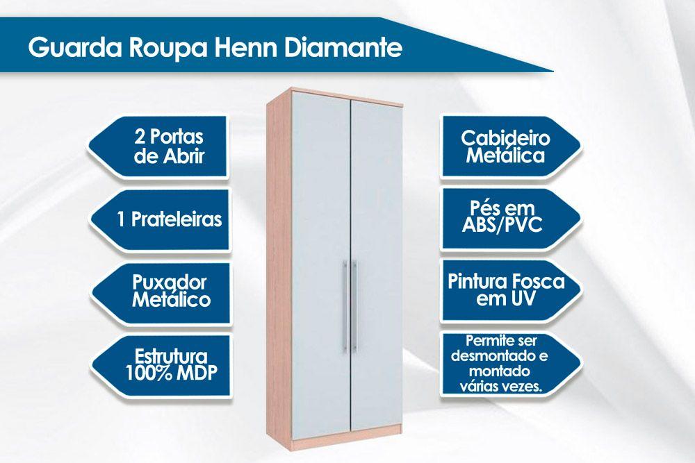 Guarda Roupa Henn Diamante c/ 2 Portas e Cabideiro (Componível)