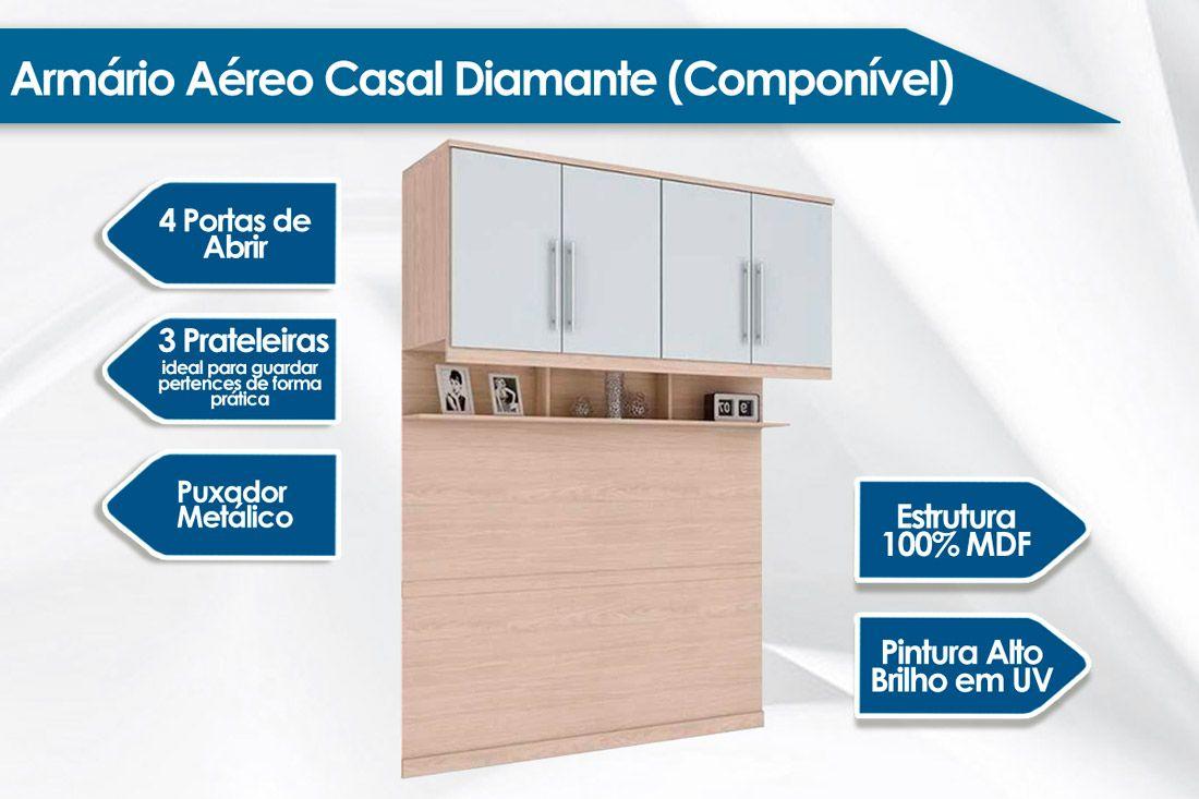 Armário Ponte Aéreo Casal Henn Diamante c/ 4 Portas + 1 Prateleira e 1 Nicho (Componível)