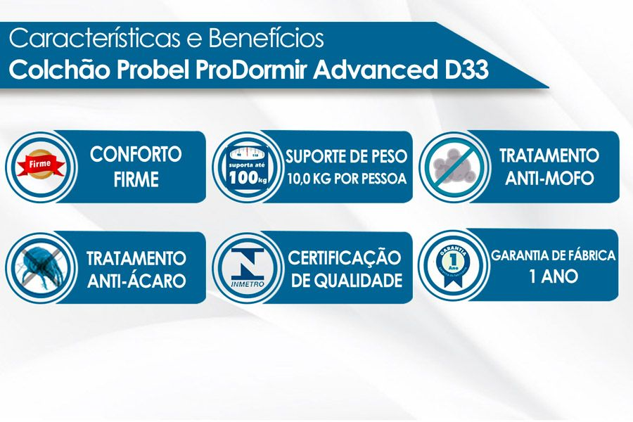 Colchão Probel de Espuma ProDormir Advanced Extra Firme Plus D33
