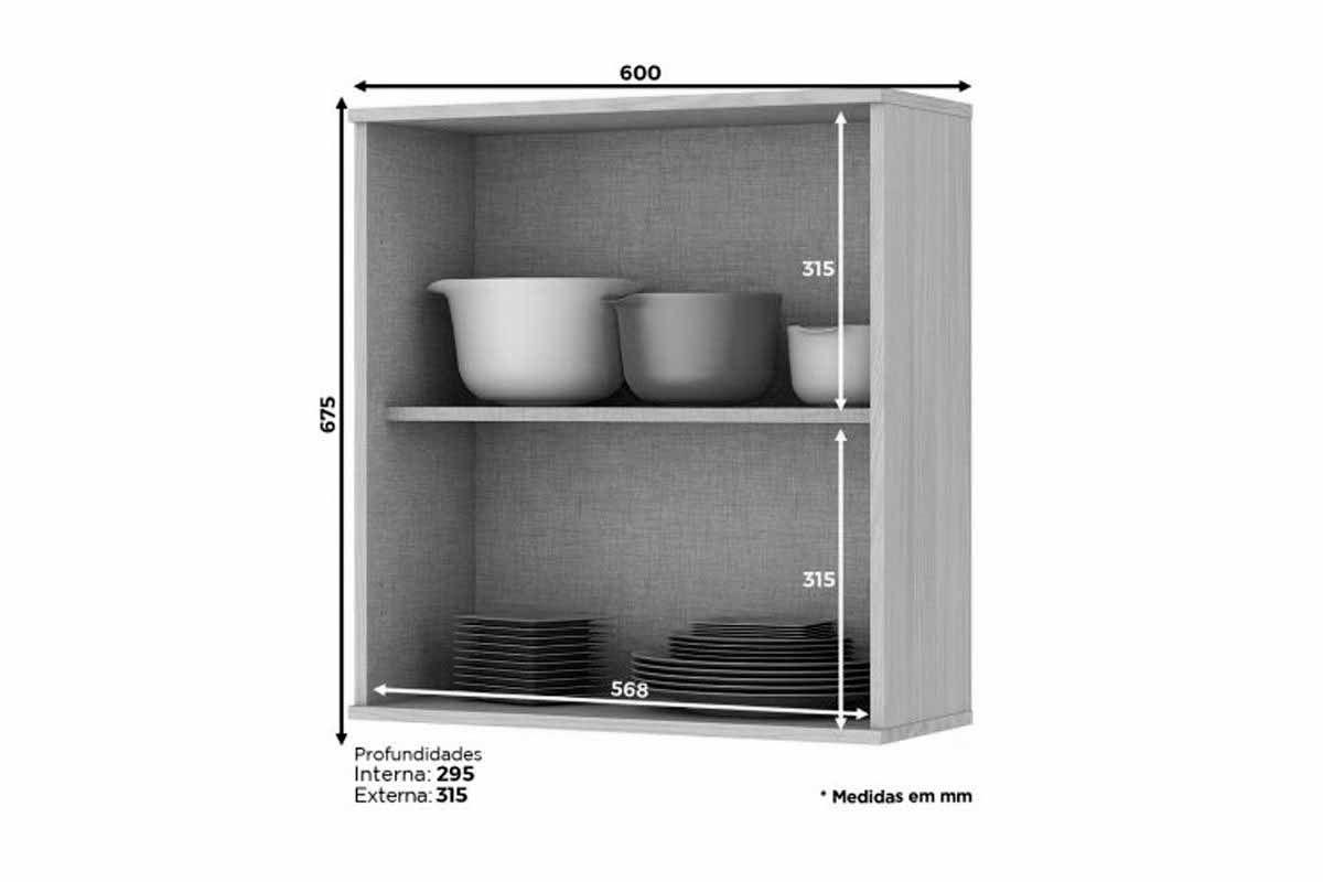 Armário de Cozinha Aéreo Henn Connect c/ 1 Porta 60cm
