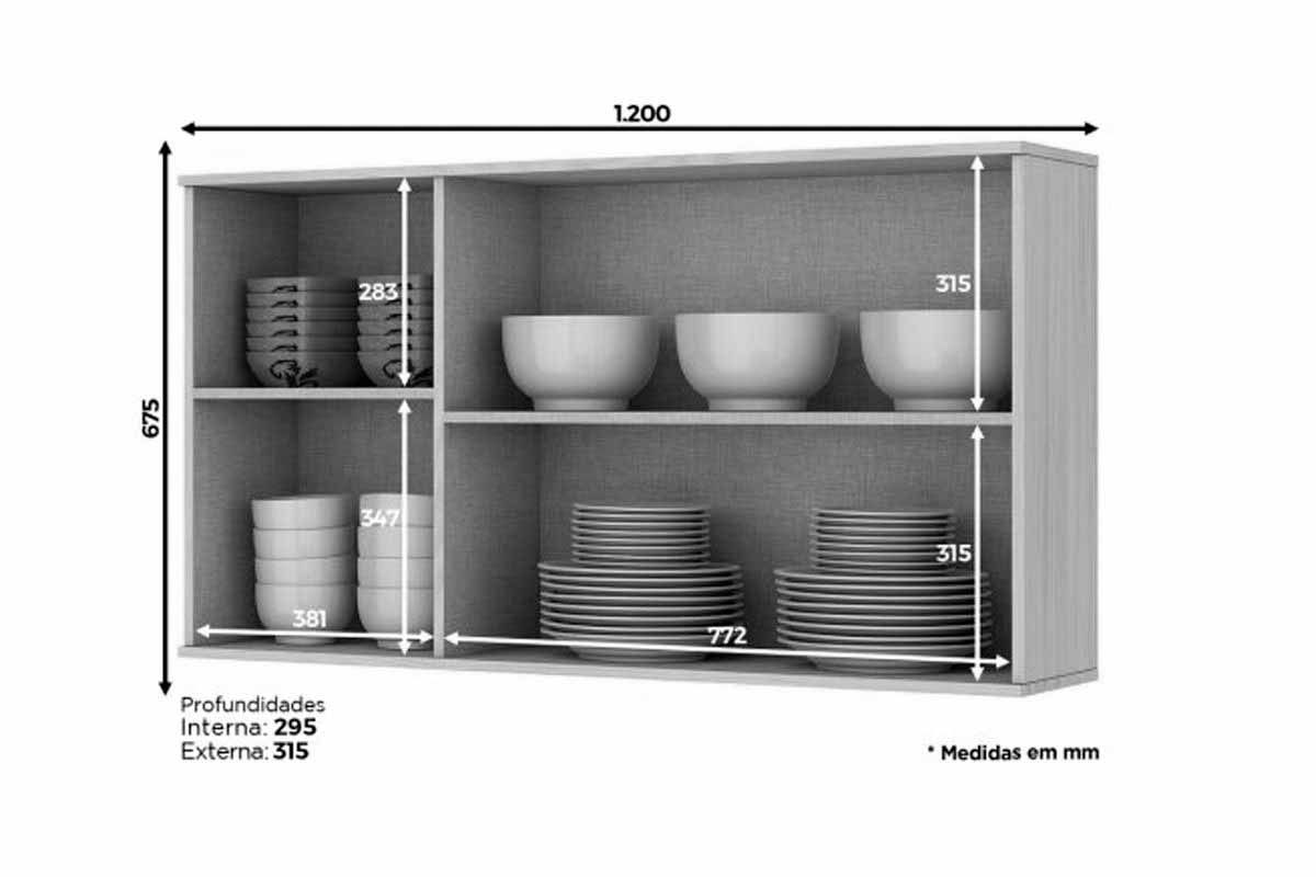 Armário de Cozinha Aéreo Henn Connect c/ 3 Portas 120cm