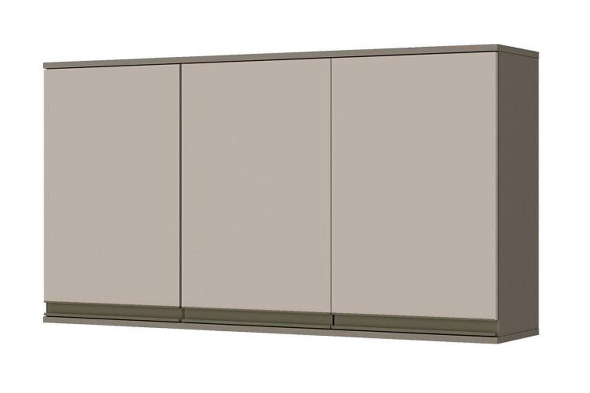 Armário de Cozinha Aéreo Henn Connect c/ 3 Portas 120cmCor Duna c/ Cristal