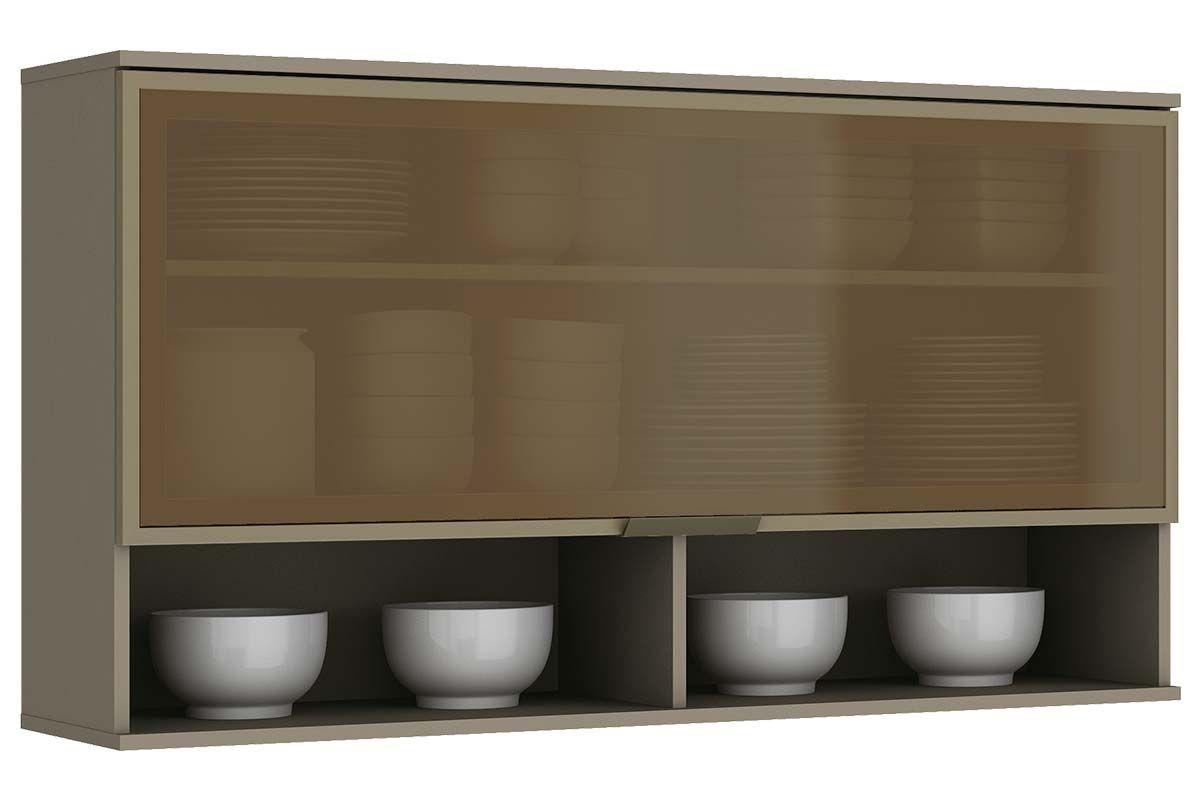 Armário de Cozinha Aéreo Henn Connect 1Porta Basculante Vidro 120cmCor Duna