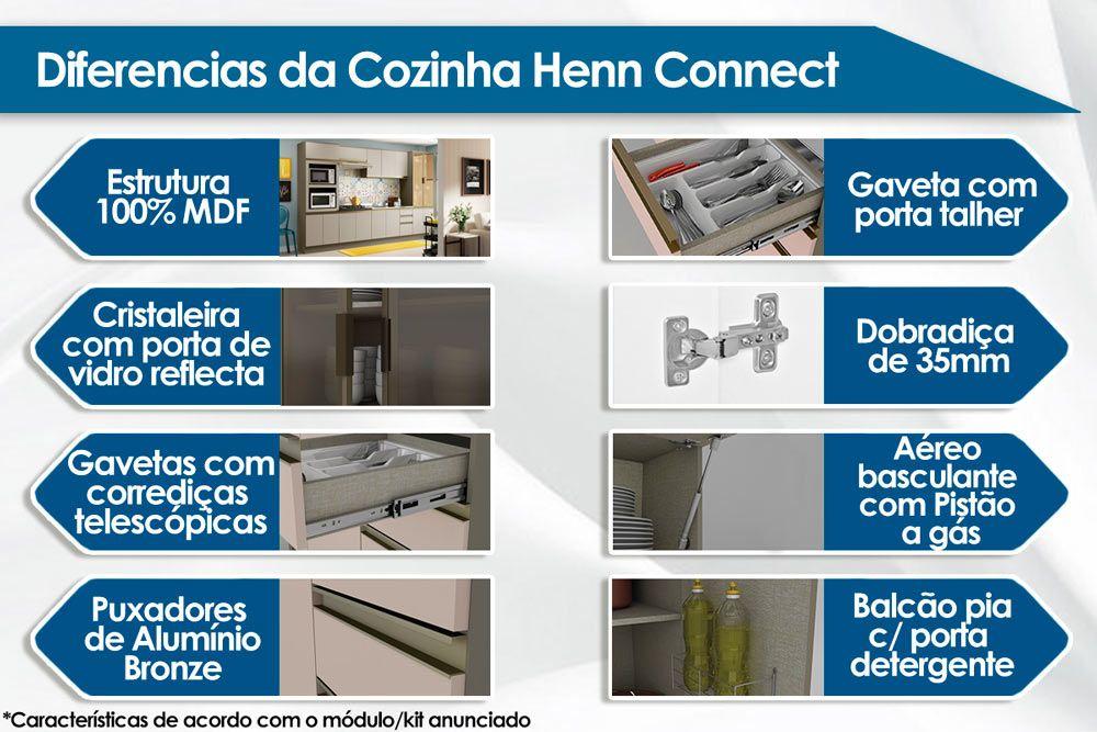 Armário de Cozinha Aéreo Henn Connect 1Porta Basculante Vidro 120cm