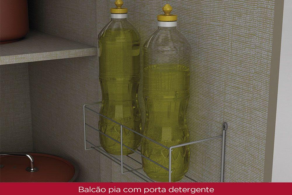 Balcão p/ Pia de Cozinha Henn Connect 3 Portas e 2 Gavetas 120cm s/Tampo