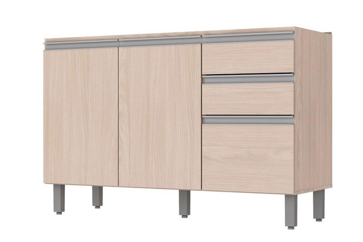 Balcão p/ Pia de Cozinha Henn Connect 3 Portas e 2 Gavetas 120cm s/TampoCor Fendi HP