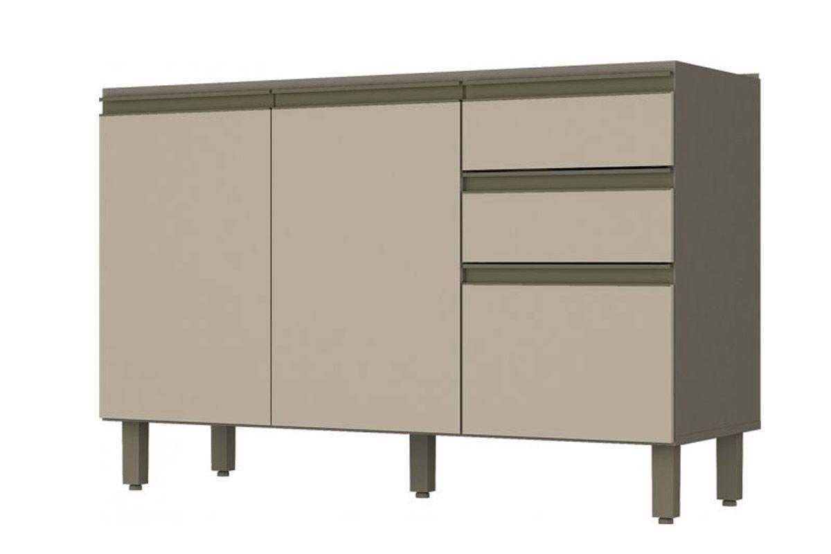 Balcão p/ Pia de Cozinha Henn Connect 3 Portas e 2 Gavetas 120cm s/TampoCor Duna c/ Cristal