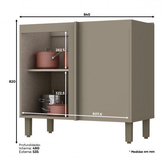 Balcão de Cozinha Henn Connect Canto Reto 1 Porta s/ Tampo