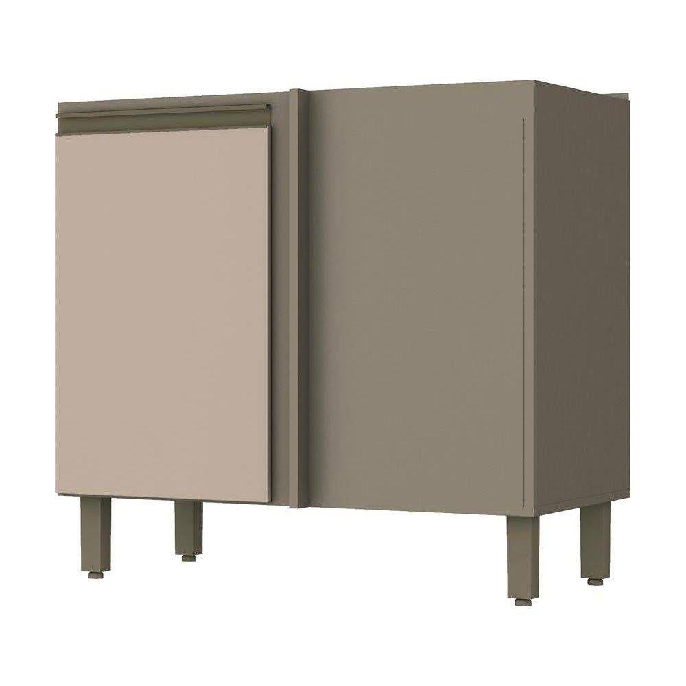 Balcão de Cozinha Henn Connect Canto Reto 1 Porta s/ TampoCor Duna c/ Cristal