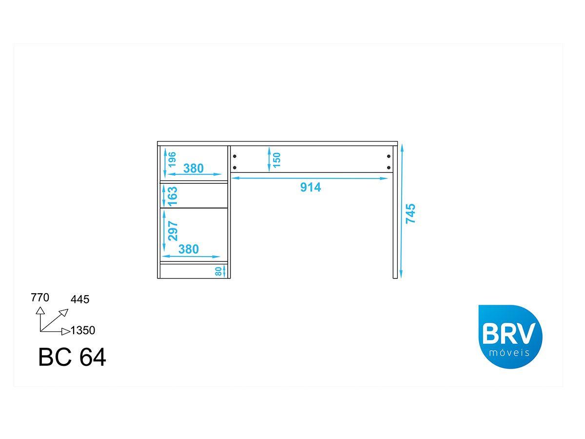 Mesa p/ Computador Office BRV BC 64 c/1 Porta e 1 Gaveta
