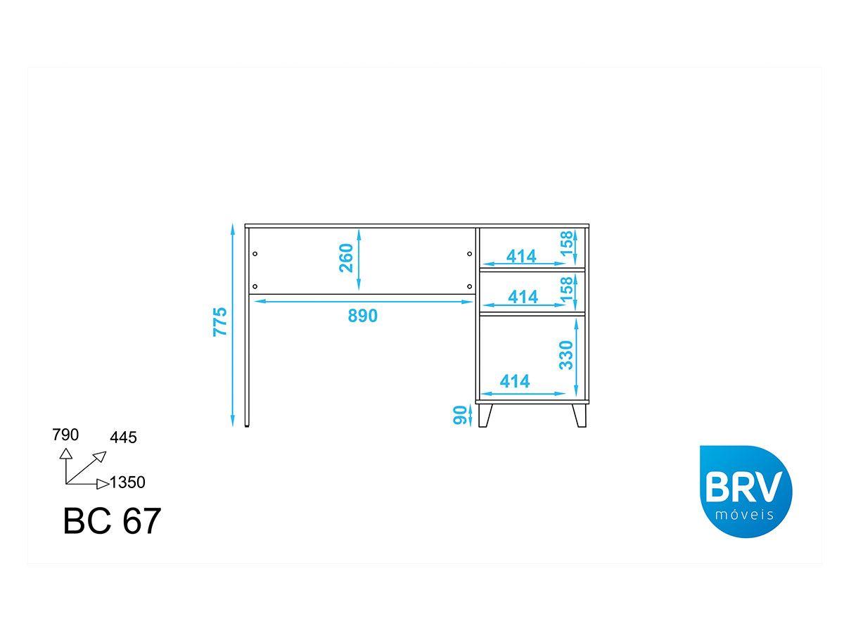 Mesa p/ Computador Oslo BRV BC 67 c/1 Porta
