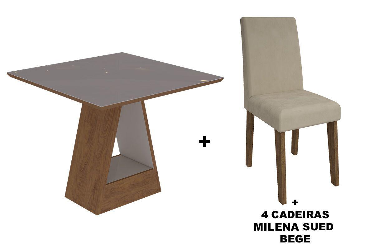Sala de Jantar Cimol Mesa Alana 950x950 Com 4 Cadeiras MilenaCor Savana/Off White - Assento/Encosto Sued Bege