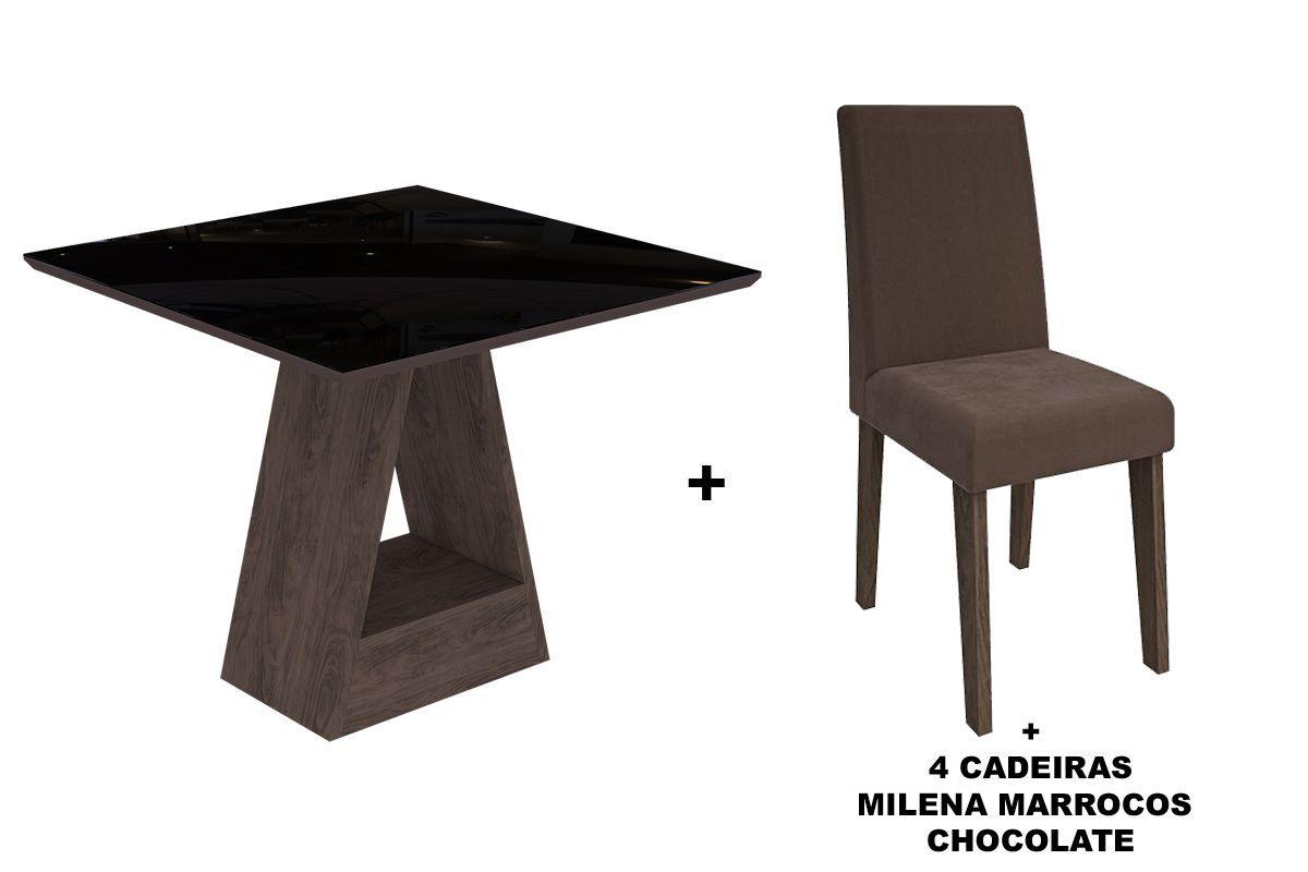 Sala de Jantar Cimol Mesa Alana 950x950 Com 4 Cadeiras MilenaCor Marrocos/Preto - Assento/Encosto Chocolate