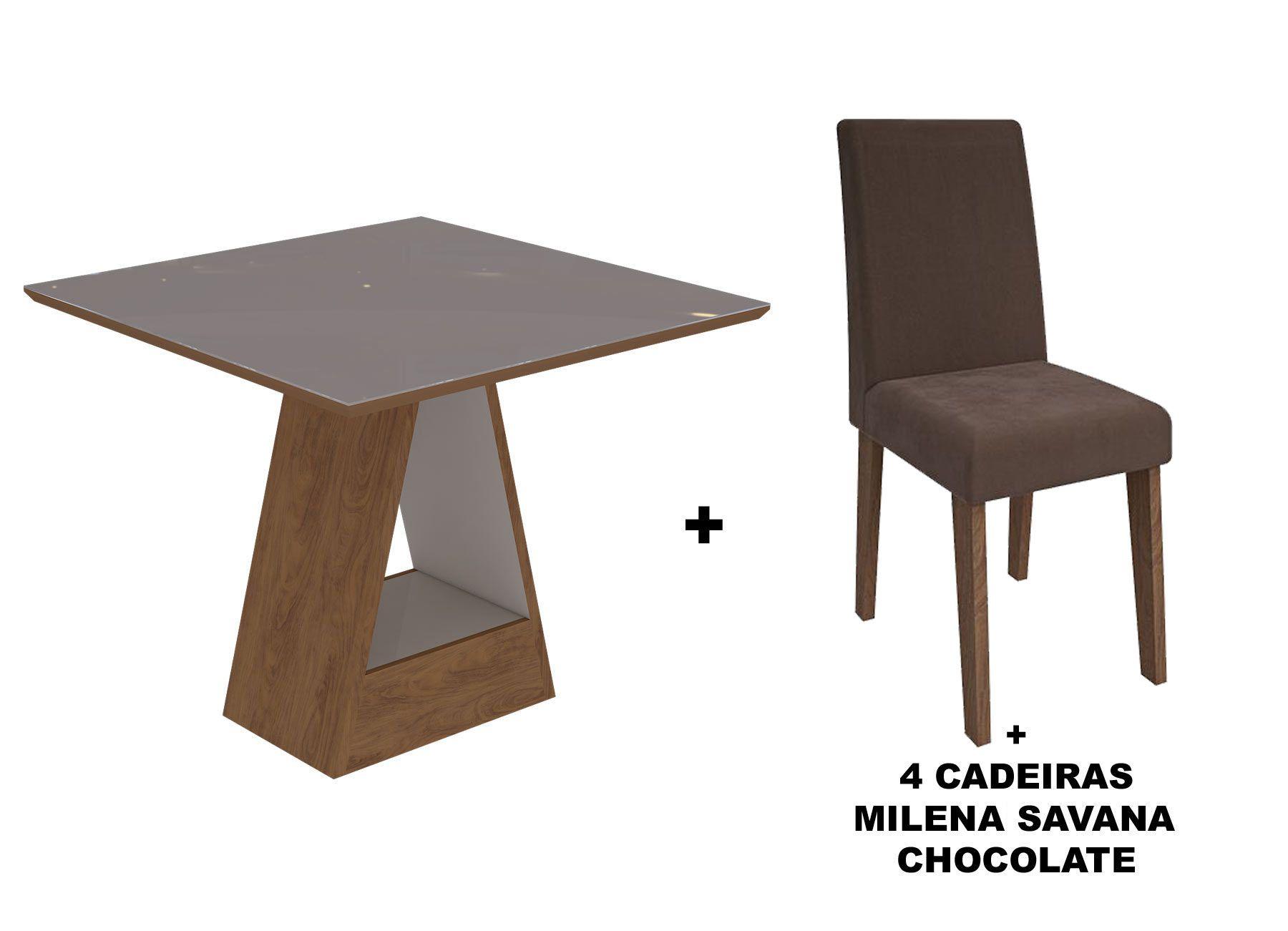 Sala de Jantar Cimol Mesa Alana 950x950 Com 4 Cadeiras MilenaCor Savana/Off White - Assento/Encosto Chocolate