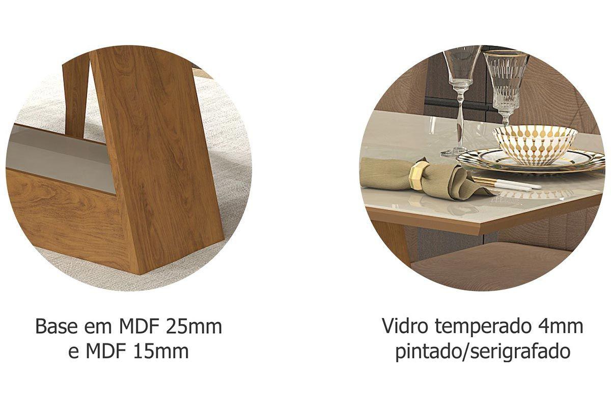 Sala de Jantar Cimol Mesa Alana 1300x800 Com 4 Cadeiras Milena