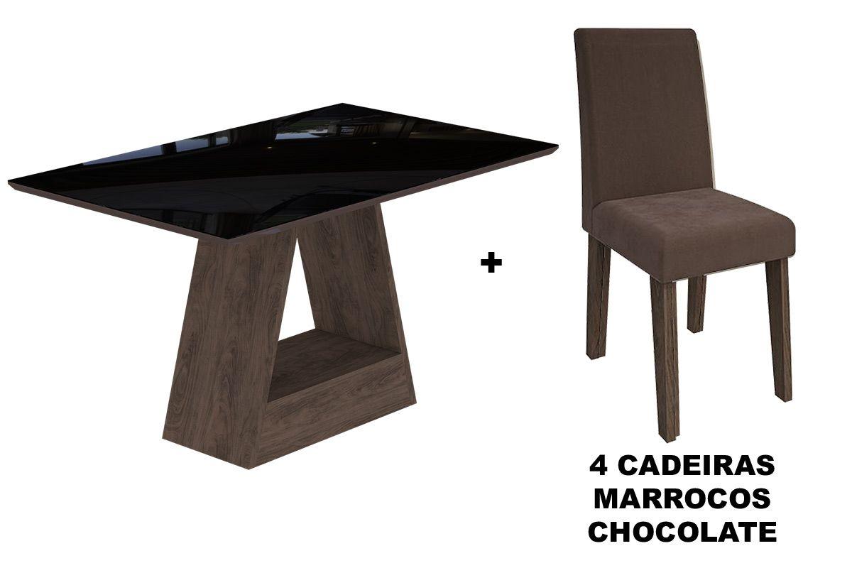 Sala de Jantar Cimol Mesa Alana 1300x800 Com 4 Cadeiras MilenaCor Marrocos/Preto - Assento/Encosto Chocolate