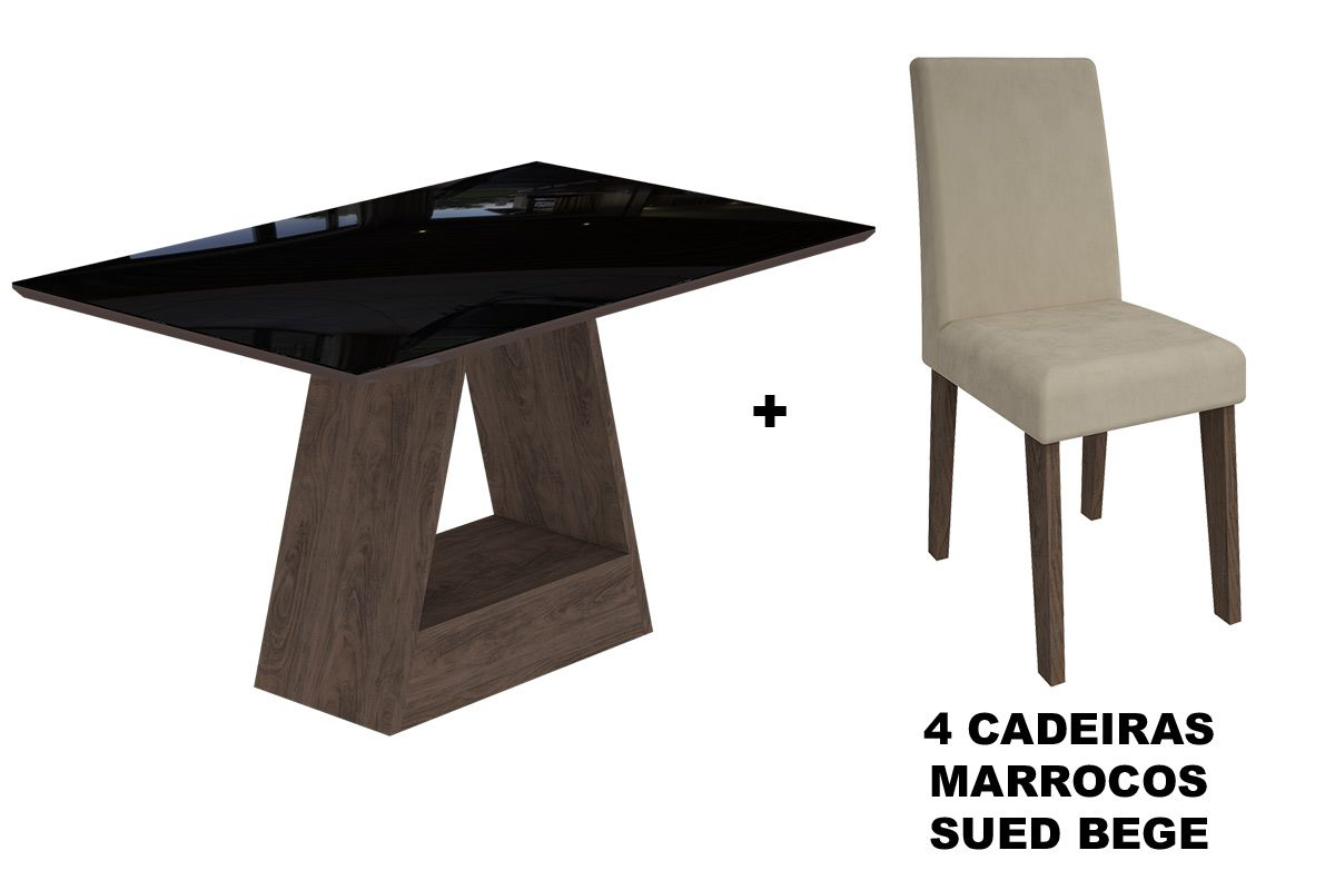 Sala de Jantar Cimol Mesa Alana 1300x800 Com 4 Cadeiras MilenaCor Marrocos/Preto - Assento/Encosto Sued Bege
