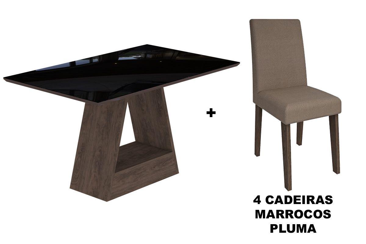 Sala de Jantar Cimol Mesa Alana 1300x800 Com 4 Cadeiras MilenaCor Marrocos/Preto - Assento/Encosto Pluma