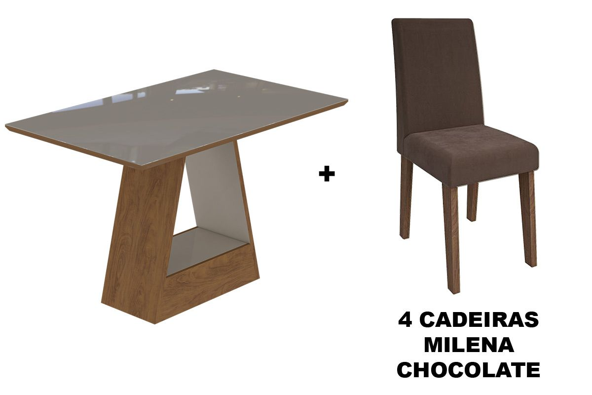 Sala de Jantar Cimol Mesa Alana 1300x800 Com 4 Cadeiras MilenaCor Savana/Off White - Assento/Encosto Chocolate