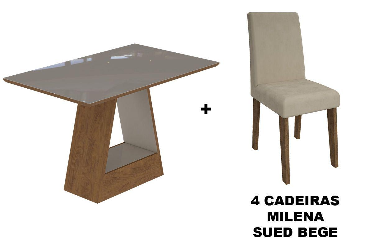 Sala de Jantar Cimol Mesa Alana 1300x800 Com 4 Cadeiras MilenaCor Savana/Off White - Assento/Encosto Sued Bege