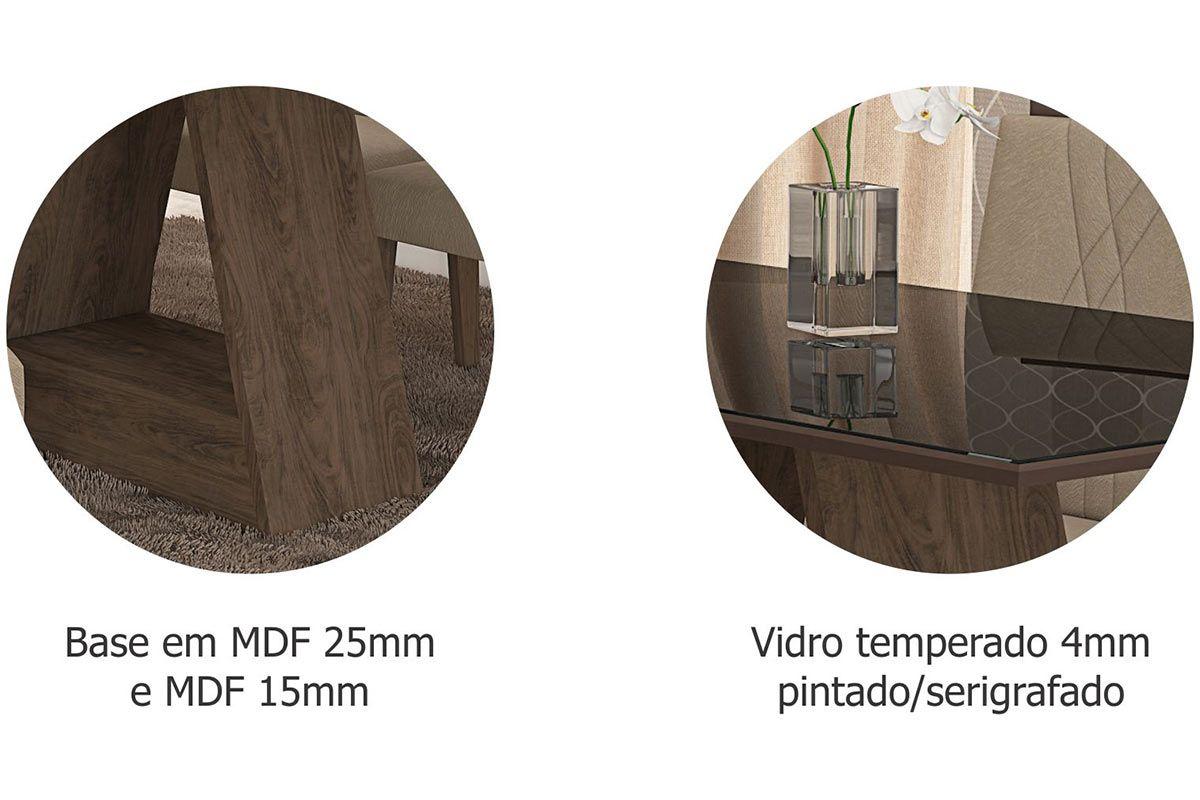 Sala de Jantar Cimol Mesa Alana 1800x900 Com 6 Cadeiras Milena-Cor Savana/Off White - Assento/Encosto Sued Bege