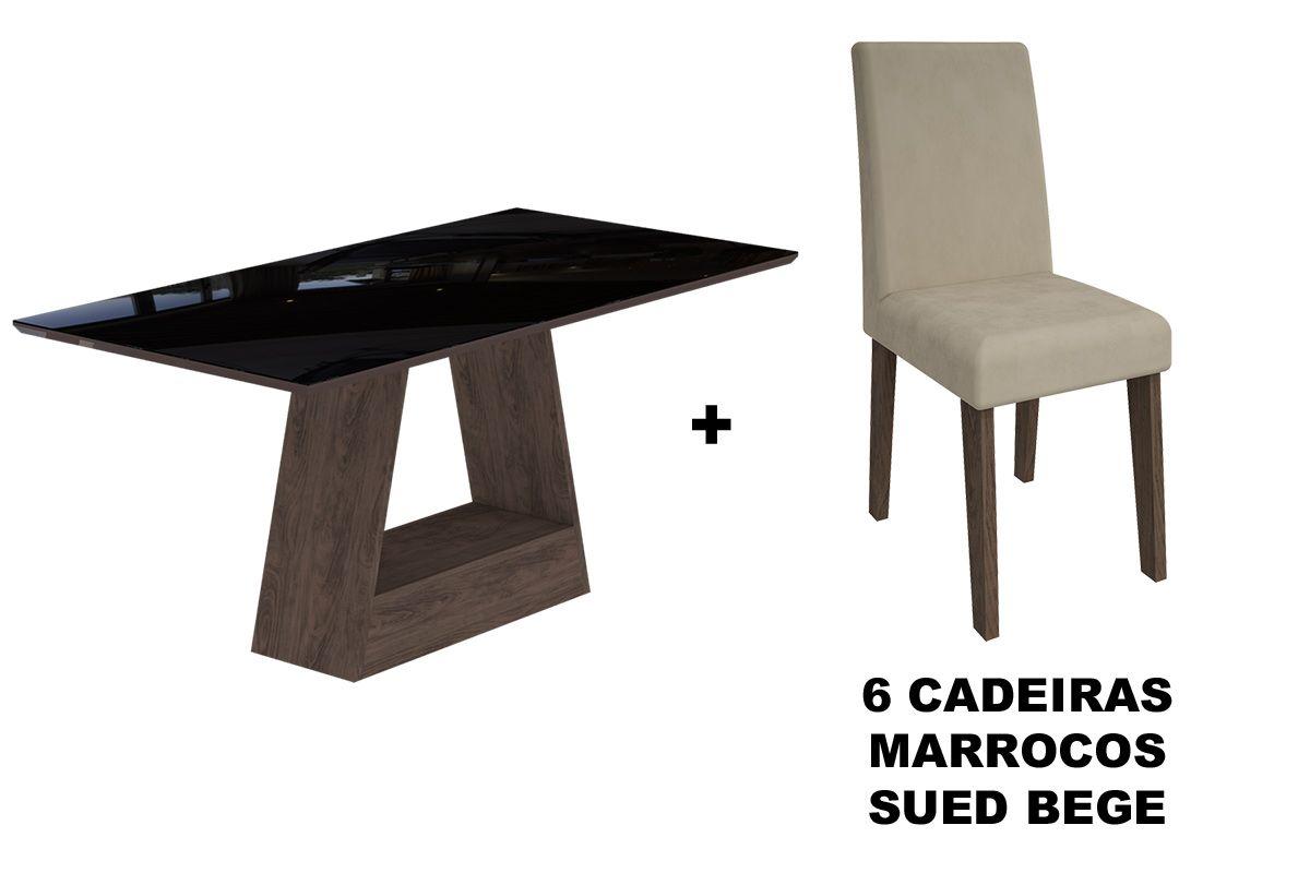 Sala de Jantar Cimol Mesa Alana 1800x900 Com 6 Cadeiras Milena-Cor Savana/Off White - Assento/Encosto Sued BegeCor Marrocos/Preto - Assento/Encosto Sued Bege