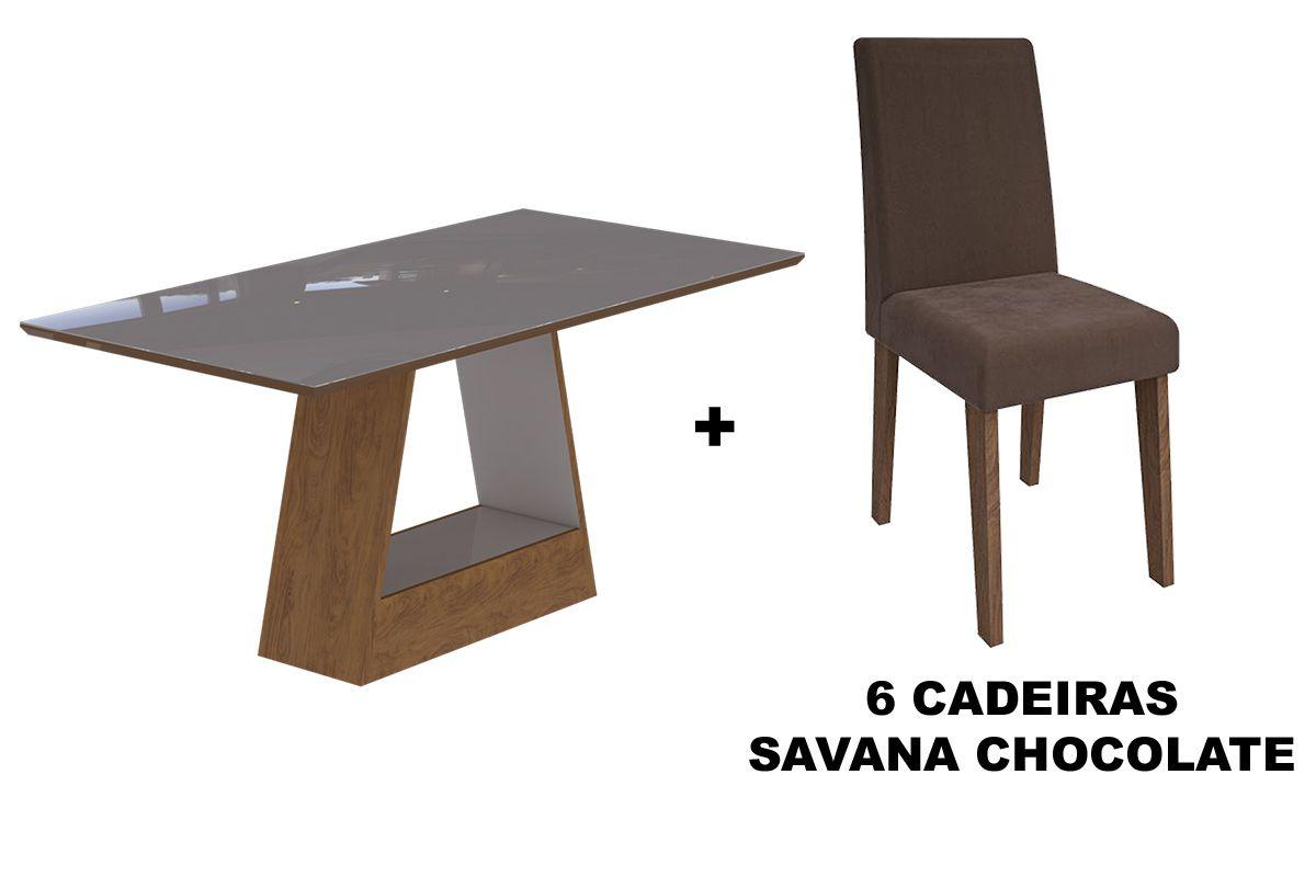 Sala de Jantar Cimol Mesa Alana 1800x900 Com 6 Cadeiras Milena-Cor Savana/Off White - Assento/Encosto Sued BegeCor Savana/Off White - Assento/Encosto Chocolate