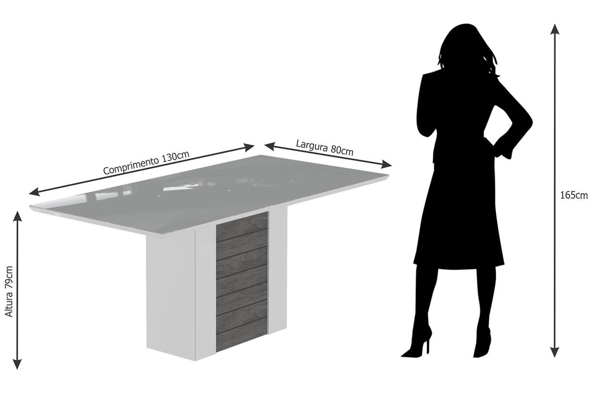 Sala de Jantar Cimol Mesa Rafaela 1300x800 Com 4 Cadeiras Milena-Cor Savana/Off White - Assento/Encosto Sued Bege