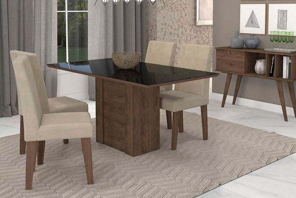 Sala de Jantar Cimol Mesa Rafaela 1300x800 Com 4 Cadeiras Milena-Cor Savana/Off White - Assento/Encosto Sued BegeCor Marrocos/Preto - Assento/Encosto Sued Bege