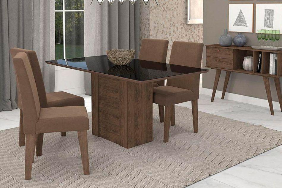 Sala de Jantar Cimol Mesa Rafaela 1300x800 Com 4 Cadeiras Milena-Cor Savana/Off White - Assento/Encosto Sued BegeCor Marrocos/Preto - Assento/Encosto Chocolate