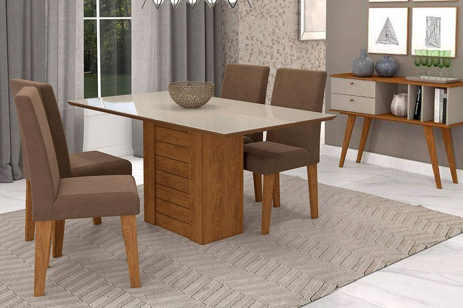 Sala de Jantar Cimol Mesa Rafaela 1300x800 Com 4 Cadeiras Milena-Cor Savana/Off White - Assento/Encosto Sued BegeCor Savana/Off White - Assento/Encosto Chocolate