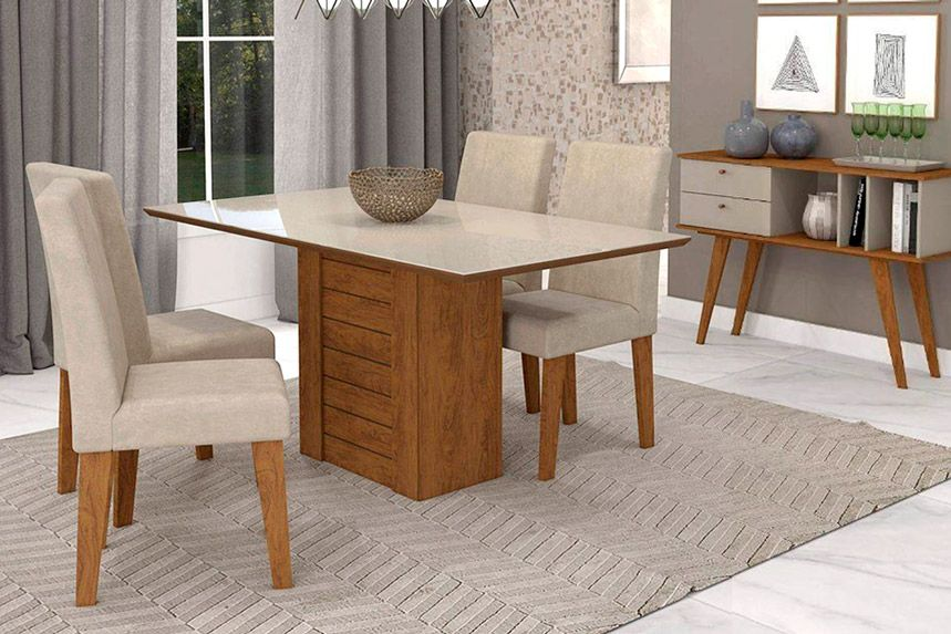 Sala de Jantar Cimol Mesa Rafaela 1300x800 Com 4 Cadeiras Milena-Cor Savana/Off White - Assento/Encosto Sued BegeCor Savana/Off White - Assento/Encosto Sued Bege