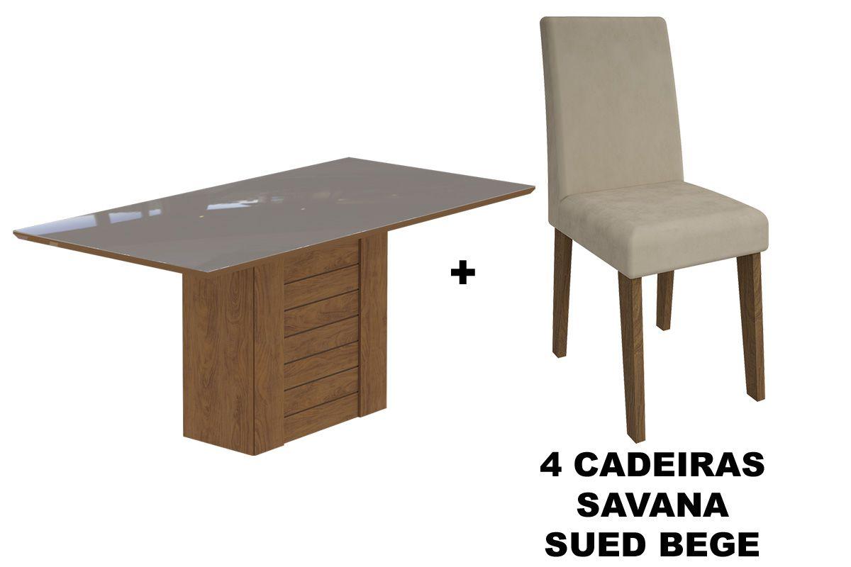 Sala de Jantar Cimol Mesa Rafaela 1800x900 Com 6 Cadeiras MilenaCor Savana/Off White - Assento/Encosto Sued Bege